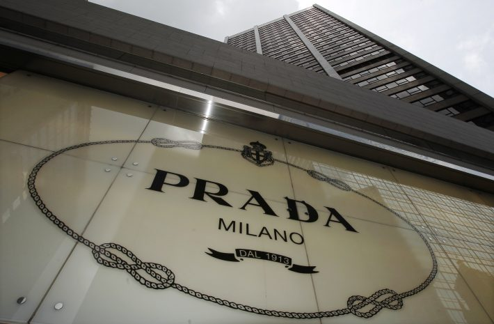 File photo of the Prada logo seen outside its store in Hong Kong